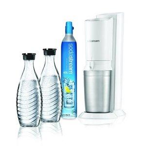 Sodastream Crystal White Megapack met 60L CO2 Cilinder + 2 Glazen Karaffen Wit