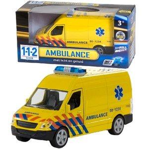 112 Pull-Back Ambulance met Licht en Geluid 1:43