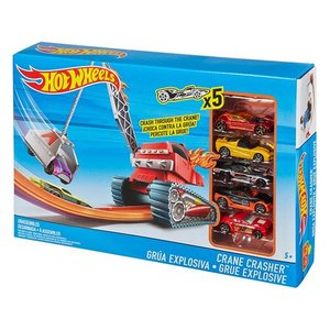 Hot Wheels Crane Crasher + 5 Auto's